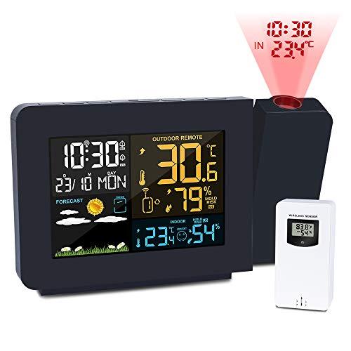 Kalawen Projektionswecker Digitaler Wecker Wetterstation mit Außensensor LCD-Anzeige Dual-Alarm Uhrzeit Datum Wochentag Temperatur Luftfeuchtigkeit