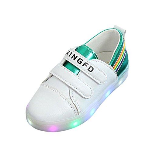 LED-Licht Schuhe Kleinkind Kinder, DoraMe Baby Jungen Mädchen Anti-Rutsch Sneaker Sport Laufende Schuhe Unisex Patchwork PU-leder Turnschuhe für 1-6 Jahr (3.5-4 Jahr/Size(CN):26, Grün) (Patchwork Indigo)