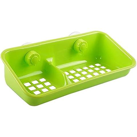 Gosear 3 piezas Titular de Jabón Bola de Limpieza / Organizador Bandeja Rejilla Jaboneras de Desagüe de Cascada para Cocina Baño Aseo con Tazas de Succión y Dos Compartimentos,Color al azar