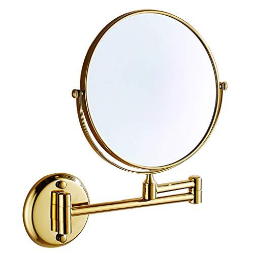YSHCA Mural Miroir De Rasage Grossissant, Pivotant Pliable avec grossissement 3 Fois Grossissant pour Le Rasage cosmétique beauté,Gold_8inch