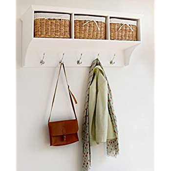Tetbury White Coat Hanger With 3 Natural Wicker Baskets. Hallway Storage  Hanging Shelf With Hooks