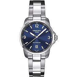 Certina C001.410.11.047.00 - Reloj para hombres, correa de acero inoxidable color gris