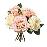 happy event Unechte Blumen | Künstliche Deko Blumen Gefälschte Blumen Blumenstrauß | 8 Köpfe Rose Für Braut Hochzeitsblumenstrauß für Haus Garten Party Blumenschmuck | Artificial Flowers (Gelb)