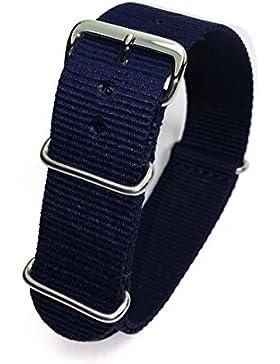 Herzog Outdoor, Nylon Uhrarmband 20mm, marineblau, Textil, Nato Strap, Durchzugsband für Sport & Style mit 3 Metallschlaufen...
