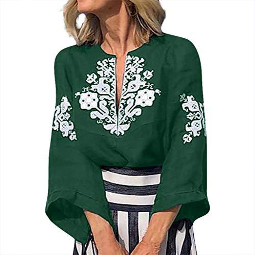 Malloom-Bekleidung Art Und Weisefrauen V Ansatz Plus Größen Drucken Mittlere Hülsen Einfache Oberseiten Bluse Ärmeloberteil Aus Baumwolle Und Leinen Mit Großem V Ausschnitt - Stricken Kimono-robe