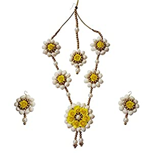 The Peacock Studio Yellow Rose Mogra Flower Fabric Jewellery Set for Women