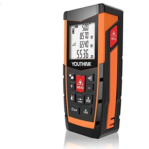 Telemetro Distanziometro Laser, Misuratore Distanza Livello elettronico, Precisione 1.5mm, Display LCD Retroilluminato, Area, Angolo, Volume, Batteria Inclusa (60M)