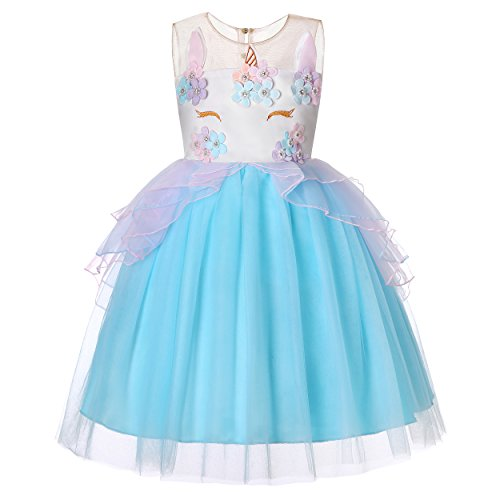 Molliya Fille Licorne Princesse Tutu Robe Cosplay Florale Princesse Tutu Jupe pour Mariage Carnaval Costume de Photographie Anniversaire Robe,Bleu Ciel,120CM/47.2Inch/5-6 Ans