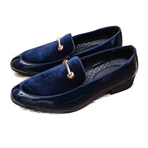 HILOTU Hombres Zapatos de Vestir Oxfords Personalidad Costura Anti-óxido Metal Decor Charol Slip-on Penny Loafer Zapatos de Fiesta (Color : Azul, tamaño : 41 EU)