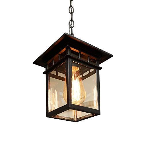 Pendelleuchte Schwarz Vintage E27 Innen Außen Leuchte Retro Pendellampe Aluguss und Glas Schirm,Wasserdicht IP23 Höhenverstellbar Hängeleuchte für Pavillon Garten Villa Grape Rack Balkon Decke-Lampe