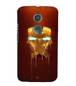 Takkloo super hero ( man in red iron costume, man wearing mask, warrior, blue background, yellow iron mask) Printed Designer Back Case Cover for Motorola Moto X2 :: Motorola Moto X (2nd Gen)