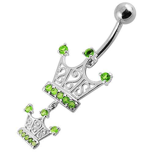 Leichte grüne CZ Stein verdoppeln Stammes-Krone 925 Sterling Silber Bauch Bar Piercing Schmuck baumelt (Piercing Belly Button Krone)