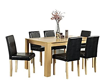 Dining Table With 4 or 6 Faux Leather Chairs In Oak or Walnut Colour