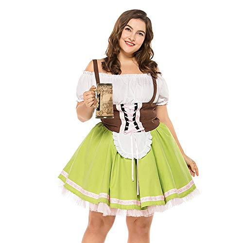 Kleider Damen Große Größe Oktoberfest Kostüm Bayerisches Bierfest Frauen Biermädchen Taverne Bar Maid Dress Traditionelles Midikleid karnevalskostüme (XXXL, Grün)