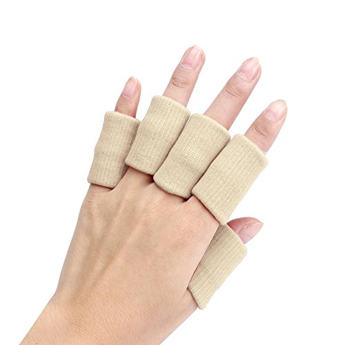 41OxAnZ55mL - Clode® Finger Guard Support, Stretchy Finger Protector Sleeve, Arthritis Support Sports Aid x10 (Beige) Reviews and price compare uk