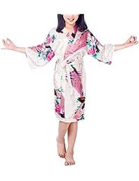 FY Niñas Kimono Bathrobe Robe Albornoz Bata de Baño Vestido Pavo Floral Seda De Imitación Ropa de Dormir Camisón Pijamas Balneario Fiesta Cumpleaños de Regalo