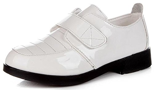 DADAWEN Boys Manmade PU Flats Casual Performance Shoe (Little Kid/Big Kid)-White 2 UK size