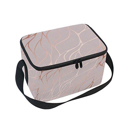 Alaza schwarz Marmor Isolierte Lunchtasche Box Kühltasche wiederverwendbar Tasche Outdoor-Reise Picknick Tasche 10x7x6 inches rose
