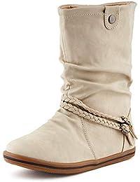 Fusskleidung Damen Schlupf Stiefeletten Stiefel Flach Warm Gefüttert Boots 01cf7c072d