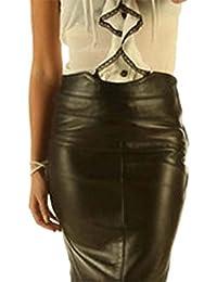 Leatherotics Full Grain Leather Pencil Office Skirt Tight Fit Sexy Black Unique Design SK19
