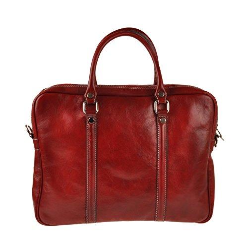 Pellevera Amato Italian Leather Laptop Arbeit Aktentasche (rot) rot