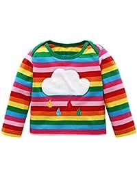 87a9b3486 BOBORA Baby Girls Long Sleeved Top Shirts Cute Rainbow Striped Cotton  Jumper Pullover T-Shirt