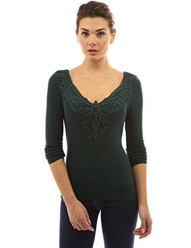 PattyBoutik femmes v cou dentelle de crochet encart blouse à manches longues vert foncé