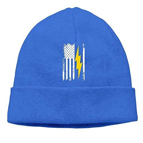 American Flag Lightning Bolt Electrician Unisex Fashion Beanie Knit Hat Cap