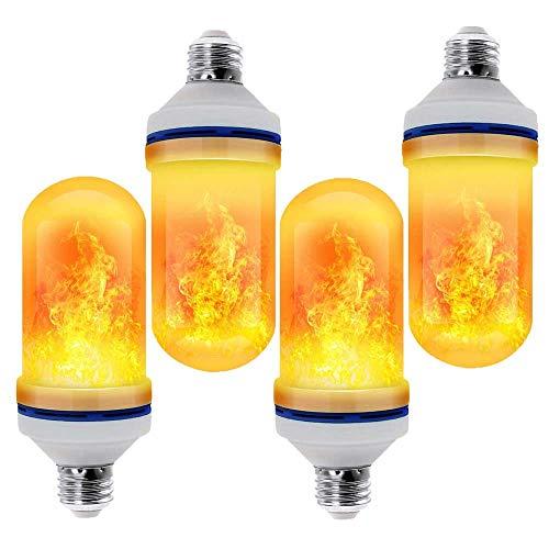 LED Flammen Glühbirne E27, Auccy 4 Modi 3W Flackernde Leuchtmittel Flamme Effect Birne Flackerlicht Dimmbar Außenleuchte Feuer Glühlampe Flacker-Birnen Dekorative Leuchte, Gelb,4 -