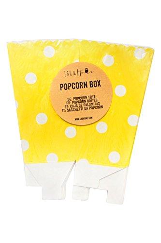 Lau&Home Popcorn-Tüten Box Party Geburtstag - Punkte - Gelb 5 Pack (60 Boxes)