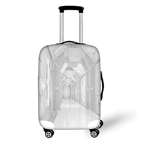 Travel Luggage Cover Suitcase Protector,Outer Space Decor,Extraterrestrial Construction to Visit Astronomical Bodies Cosmonaut Flight I,White,for Travel Body Protector Film