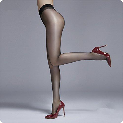Lagougou Glänzende Strümpfe Dünne Toe Transparente Strumpfhose Sexy Schimmer Nahtlose Flash T Schrittgurt, Glänzende Strümpfe Schwarz