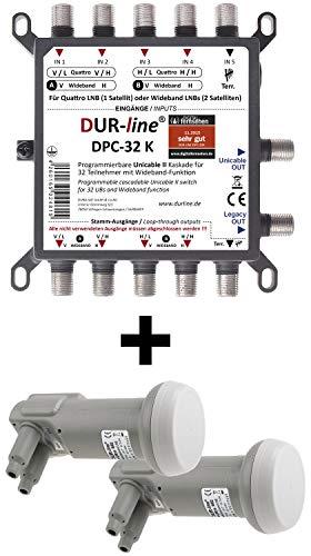 DUR-Line DPC-32 K LNB Set - Unicable I+II Wideband Multischalter +2xLNB Set für 32 Teilnehmer - 2 Satelliten + Terr. - Einkabellösung Ultra-wide-band-usb
