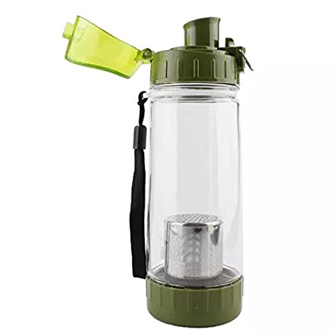 Ezyoutdoor Water Bottle for Running Gym Yoga Outdoors and Camping Bivouac Travel Backpacking Hunting Household Fast Water Flow Flip Top Opens with Leak proof Lid green