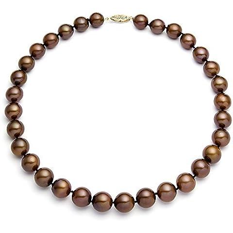 14 K amarillo oro clásico collar de perlas cultivadas de agua dulce de cacao de calidad AA + (9, 5-10, 5