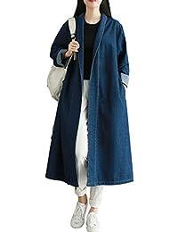 825d7a508031 Oksakady Femmes Manche Longue Décontractée Veste en Jean Manteau Taille  Plus Outwear avec Ceinture
