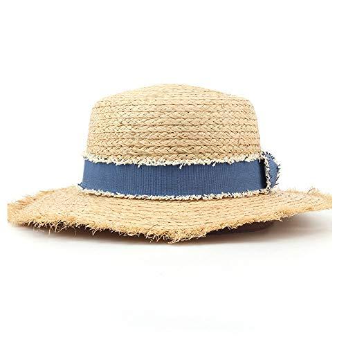 Bangxiu Dame Straw Hat Sonnenhut Lafite Flacher Hut Sommer Frühling Damen Reisen Casual Sommer Blue Ribbon Sonnenhut für Tourismus-Strand-Einkaufskirche (Farbe : Light Khaki, Größe : 56-58CM)