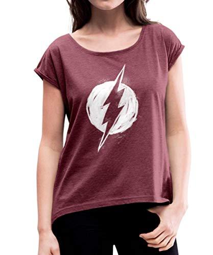 Spreadshirt DC Comics Justice League The Flash Logo Frauen T-Shirt mit gerollten Ärmeln, S (36), Bordeauxrot meliert (Damen Superhero Kostüm T Shirts)