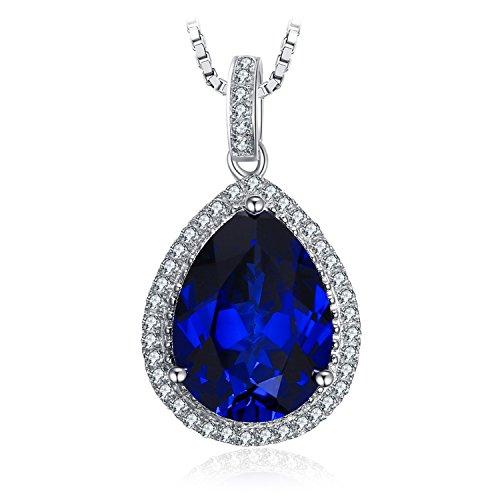 t Blau Synthetisch Tropfenschliff Saphir Luxus Anhänger Halskette Kette 925 Sterlingsilber ()