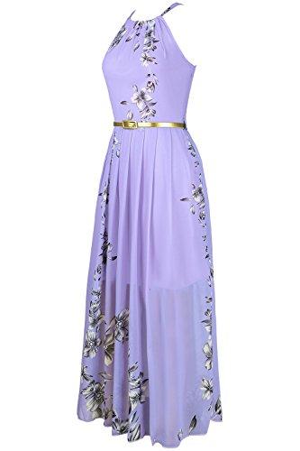 Round Neck Sleeveless Halter High Waist Floral Print Vintage Maxi Dress (M, Purple)