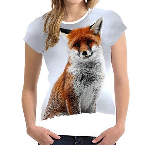 T Shirt Mit 3D Druck für Frauen, Lustige Animal Print Bluse Sommer Kurzarm Top, 2019 Mode Shirts Sommeroberteile (Animal Top Print Folie)