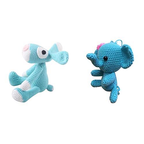 sharprepublic 2 Sätze Neuheit 3D Elefant Hund Puppe Häkeln Starter Kit Machen Sie Ihre Eigene Häkelpuppe