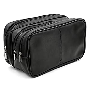 Sumnacon PU Leather Toiletry Bag Unisex Waterproof Travel Cosmetic Bag Organizer Perfect for Shaving Grooming Dopp Kit & Household Business Vacation with Portable Handle (Black)