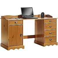Preisvergleich für IDIMEX Schreibtisch mit Aufsatz SANDRINE Computertisch Bürotisch Arbeitstisch Kiefer massiv honigfarben lackiert