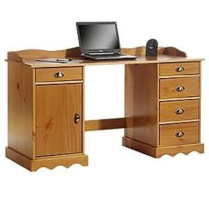 bureau sandrine multi rangements 5 tiroirs et 1 placard avec corniche en pin massif lasur. Black Bedroom Furniture Sets. Home Design Ideas