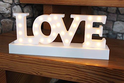 LOVE - LED - SCHRIFTZUG , mit 28 LED - warm weiss hell leuchtend - in wertigem Karton verpackt - eine tolle Geschenk - Idee für einen lieben Menschen - Geburtstag , Weihnachten , Namenstag (Schriftzug)