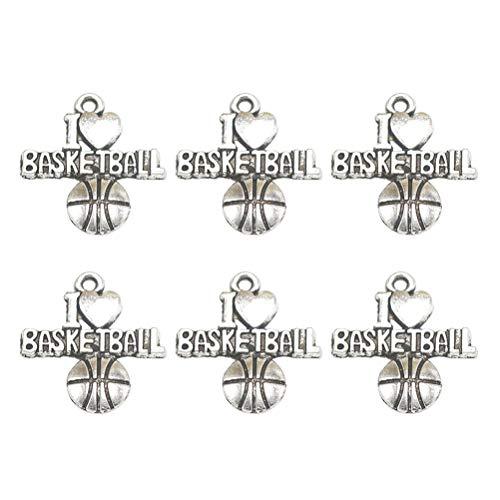 TENDYCOCO 50 stücke Anhänger Legierung Bezaubert Basketball Charms DIY Schmuckherstellung Zubehör für Halskette Armband (Antik ()