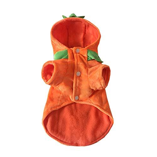 Joyfeel buy Haustier Kleidung Kostüm Hoodie Orange Flanell Kürbis Jack Hund Pullover Warm Mantel für Winter Halloween,Länge 23cm,Büste 36cm,Hals 24cm(S)