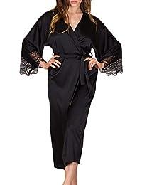 a67be5e0e6 Topgrowth Camicia da Notte Donna Lunga Vestaglia in Pizzo Pigiama di Seta  Abito di Preparazione Babydoll