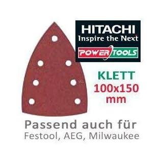 Hitachi–753423Raumfahrt-Schleifblätter Schleifpapier Korn 80Typ Delta 100x 150mm mit Klettverschluss (10Stück)